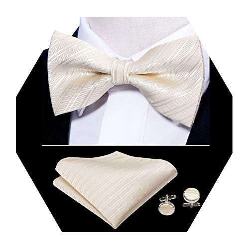 - Barry.Wang Beige Bowtie Mens Silk Tie Pocket Square Cufflinks Set Wedding Necktie