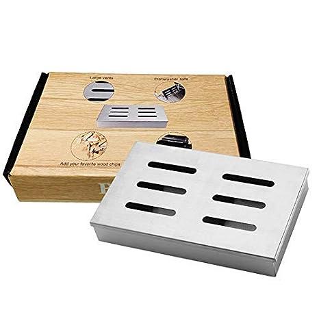 BBQ Smoker Box Caja de ahumador de de acero inoxidable, Accesorio de parrilla para ahumador,Caja de ahumador a la para astillas de madera, Barbacoa de carbón ahumada Sabor a carne a la parrilla