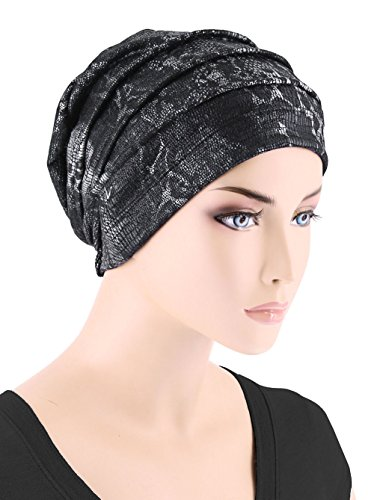 Womens Chemo Hat Slouchy Pleated Beanie for Cancer Turban Black with Silver Snakeskin