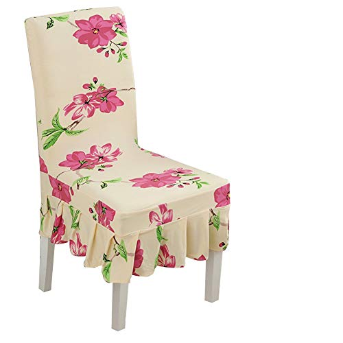 Lihailewo Skirt Chair Cover Ruffled Skirt Stretchable Removable Washable Dining Chair Cover Print Pattern Ruffled Long Skirt Dining Chair Slipcovers (6, Pink -