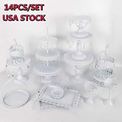 Cake Stands, 14 pcs Metal Crystal Cake Holder Cupcake Stands with Pendants and Beads Cake Stand Dessert, Wedding Birthday Dessert Cupcake Pedestal Display, White USA STOCK (14, white)