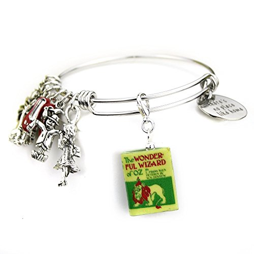 The Wonderful WIZARD OF OZ L. Frank Baum Clay Mini Book Expandable Stainless Steel Bangle (Girls Emerald Witch Costumes)