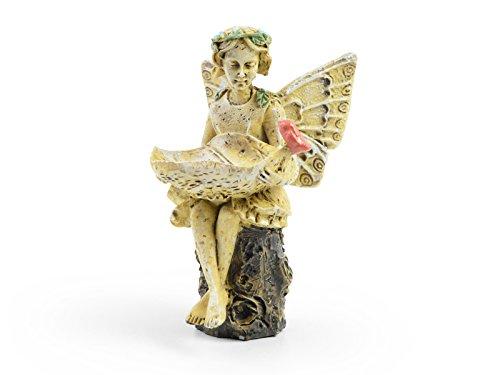 Sugar House Miniature Fairy Figurine Statue - Garden Décor Accessories Fairies (Evelyn Mae Birdbath)
