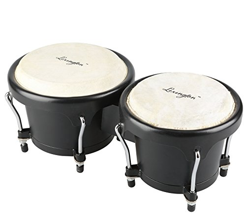 Bongo Drum Percussion Set 6 1/2″ & 7 1/2″ with ABS Resin & Natural Buffalo Heads for Kids, Enthusiasts