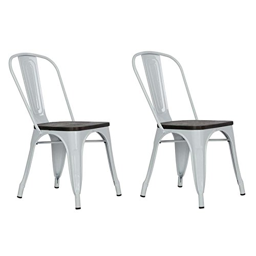DHP Fusion Metal Dining Chair with Wood Seat (Set of 2), White
