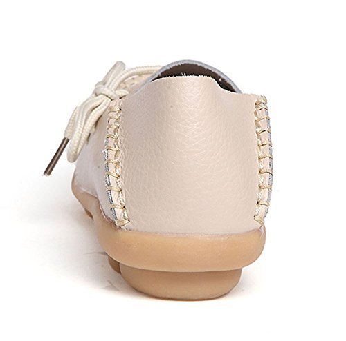 Auspicious beginning Ladies Comfy Work Leather Moccasins Loafers Flats Shoes Beige YregT