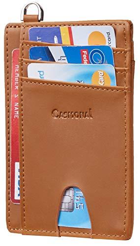 Casmonal Leather Slim Minimalist Front Pocket Wallets RFID Blocking Credit Card Holder for Men & Women (Crazy Horse Brown Desert)