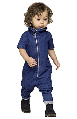 Baby Girl Boy Denim Romper Coverall Long Pant Bodysuit (12-24M)