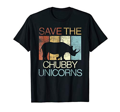 - Save The Chubby Unicorns T-Shirt Retro Vintage Colors