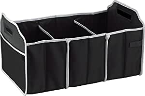 Focus Car Trunk Organizer, 3 Large Sections Collapsible Folding Storage Bin, Black
