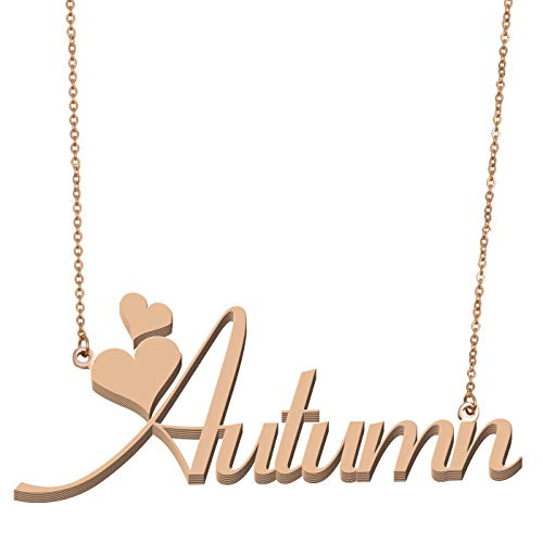 Aoloshow Customized Custom Name Necklace Personalized - Custom Made Autumn Necklace Initial Monogrammed Gift for Womens Girls