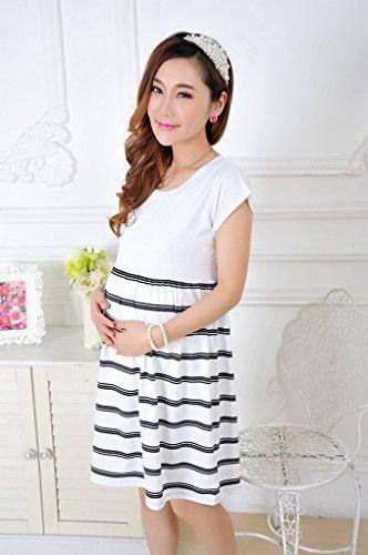 Été Grossesse Courte Courtes Coton Blanc Robe Femme Ample Rayures Manches Maternité Acmede En gX14q4