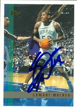 (Samaki Walker autographed Basketball card (Dallas Mavericks) 1997 Topps #192)