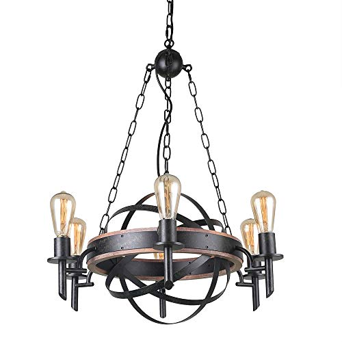 Giluta Globe Chandelier Light Industrial Metal Chandelier Retro Castle Pendant Light Displays Changeable Hanging Ceiling Light Fixture 6 Lights for Entryway Foyer Hallway C0051