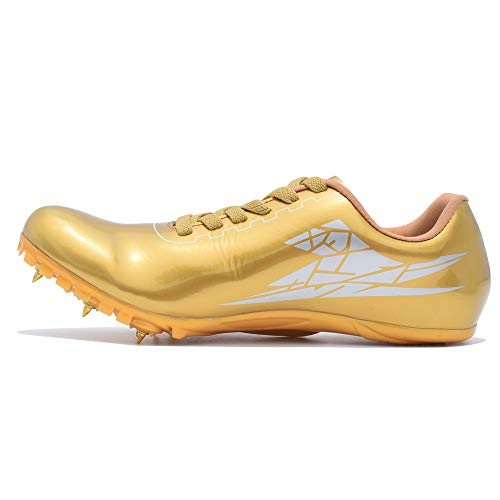 Thestron Track Shoes Spikes Mens Womens Distance Running Sneakers Athletic Sprinting Track and Field Racing Shoes with Spikes Boys Girls ... Gold