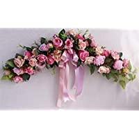 Liveinu Handmade Floral Artificial Simulation Peony Flowers Garland Wreath Wedding Table Centerpieces for Home Party Decor 23 Inch Pink Roses Swag Wreath