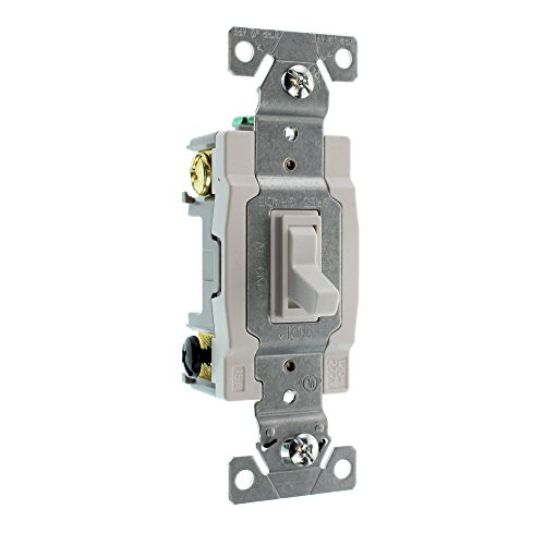 Eaton 1242-7W-BOX 15-Amp 120-volt Standard Grade 4-Way Toggle Switch with Push and Side Wiring, Grounding, White (4 Way Switch)