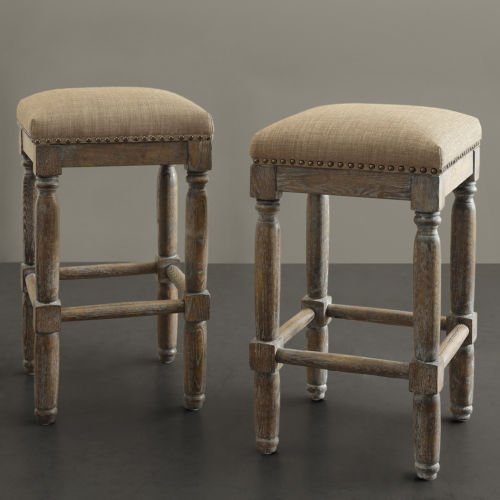 - These Rustic Distressed Renate Linen Backless Counter Bar Stools Add Extra Seating with Style to Your Kitchen or Dining or Room. A Great Vintage Addition to Any Room in the House, This Set Is Constructed of Solid Wood with a Handcrafted Reclaimed Wood Finish.