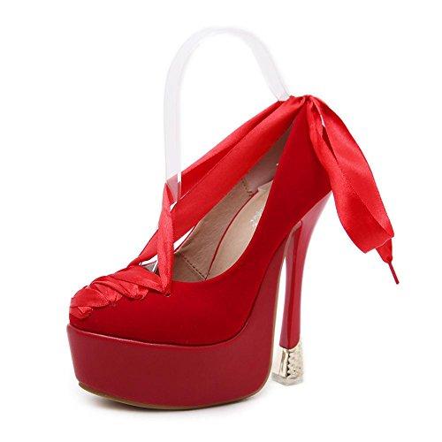 38 Correas Tacón Fiesta Nocturno 5 Negro Ante Rojo UK Mujer Zapatos Vestir NVXIE Estilete Plataforma Trabajo Club Cruzar Tobillo RED EUR38UK55 EUR Alto Corte 5 x6HPz4X
