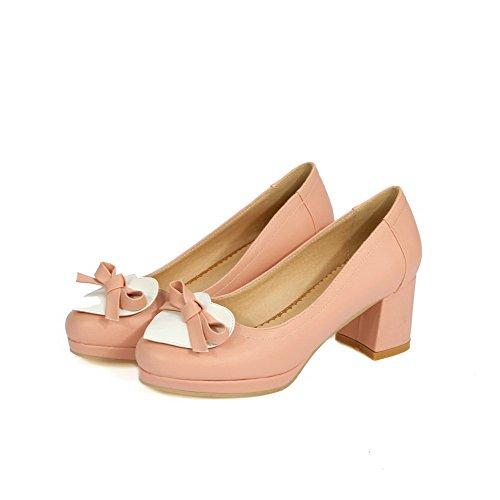 AllhqFashion Damen Mittler Absatz Gemischte Farbe Rund Zehe Ziehen auf Stiefel, Pink, 41