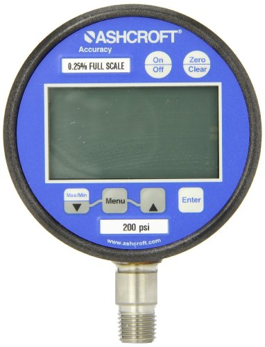 Ashcroft Type 2074 Stainless Steel Case Dry Filled Digital Pressure Gauge, Stainless Steel Socket and Sensor, 3