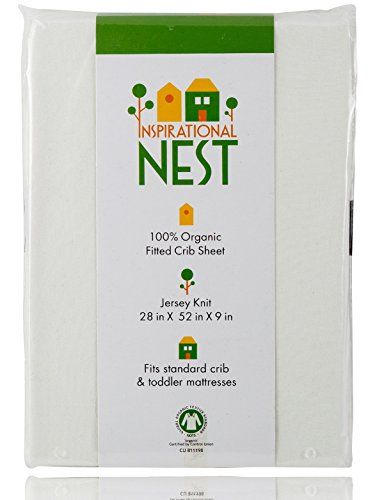 Organic Fitted Crib Sheet - GOTS Certified -100% Organic Cotton- Jersey Knit - More than Organic, Ultra-comfy, Clean and Safe Sheets (Natural/Ecru/Off White) by Inspirational NEST