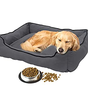 Trajectory Paws XXL Dog Bed with Additional Bowl for Dog Food