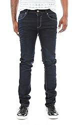 Copper Rivet Men's 3D Whisker Skinny Denim Jeans-Indigo Blue-32/32