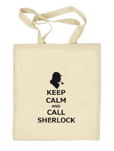 Shirtstreet24, Keep Calm And Call Sherlock, Stoffbeutel Jute Tasche (ONE SIZE) Natur