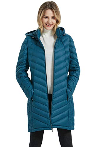 BINACL Women's Down Coat,Winter Packable Lightweight Hooded Long Down Puffer Jacket,5 Color S-XL