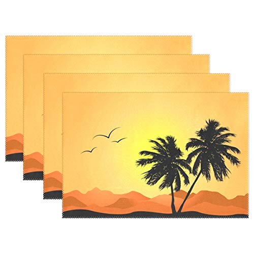 Jojogood Tropical Palm Trees Placemat Dining Table Mat 12