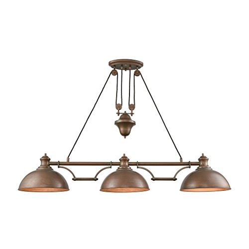 (Farmhouse 3 Light Pulldown Island Light In Tarnished Brass)