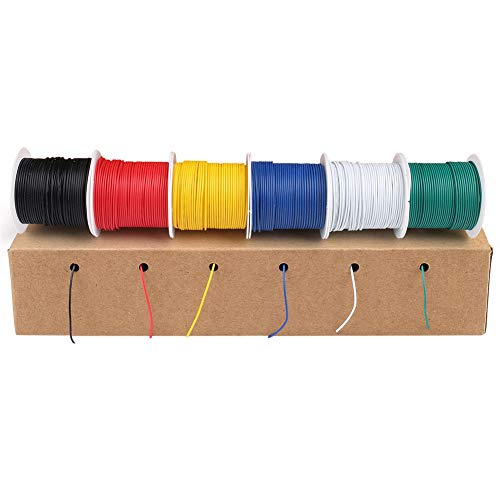 LotFancy 30AWG Stranded Wire, 6 Colors (30 Feet Each) Electrical Wire, Tinned Copper Hookup Wire Kit 30 Gauge 300V for DIY, Flexible, PVC insulated, UL Approved