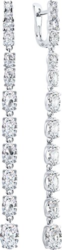 (Paradis Love Sokolov Jewelry 925 Sterling Silver Drop Earrings Rhodium Plated w/Genuine Cubic Zirconia Crystals Girls Women Gift Package 29.5)