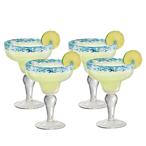 Artland Mingle Margarita Glasses (Set of 4), Turquoise Rim (Rim Margarita)