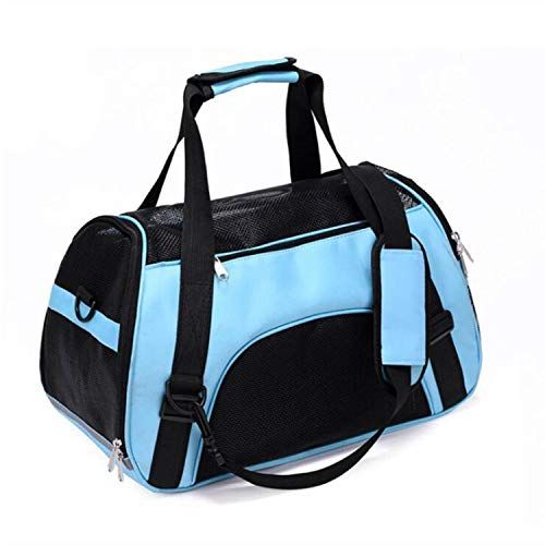 ZZmeet Pet Backpack Messenger Carrier Bags Cat Dog Carrier Outgoing Travel Packets Breathable Pet Handbag Yorkie Chihuahua,Blue,43x21x30cm