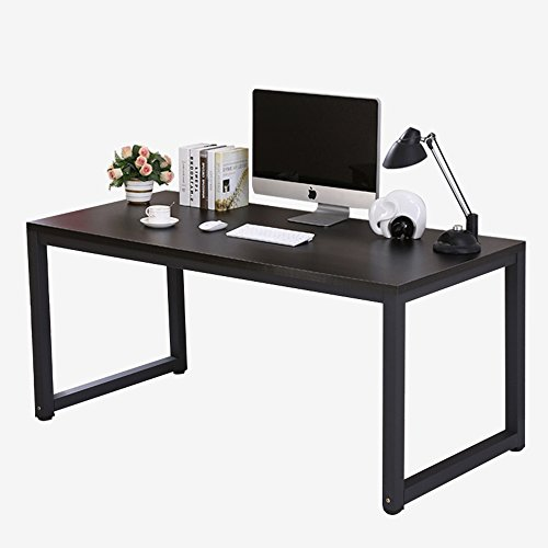 Modern Computer Desk 47'' Simple Style PC Laptop Sturdy Wooden Particleboard Table with Steel Frame Study Office Training Meeting Gaming Desk Workstation for Home Office School, Black + Black Leg by juweixin