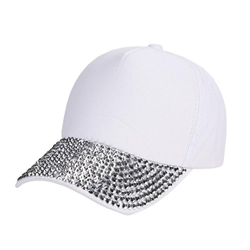 (BSGSH Women Fashion Baseball Cap Studded Rhinestone Bling Adjustable Outdoor Sport Hat (White))