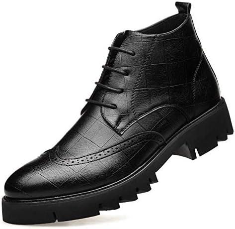 男性グリッドエンボスアンクルブーツレースアップマイクロファイバーレザー低ヒールラバーソールラウンドトゥステッチ滑り止め用ブローグブーツ YueB HAJ (Color : ブラック, サイズ : 24 CM)