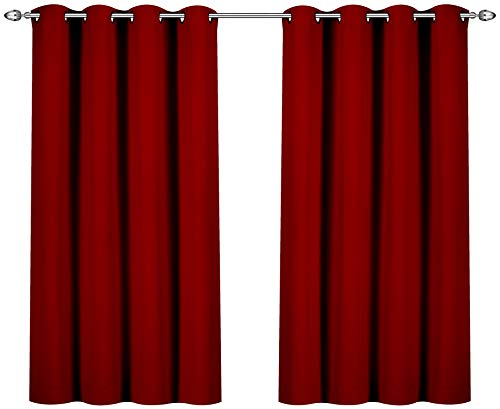 Utopia Bedding Blackout Room Darkening and Thermal Insulating Window Curtains/Panels/Drapes - 2 Panels Set - 8 Grommets per Panel - 2 Tie Backs Included (Burgundy, 52 x 63 Inches with Grommets) (Curtains Cranberry)