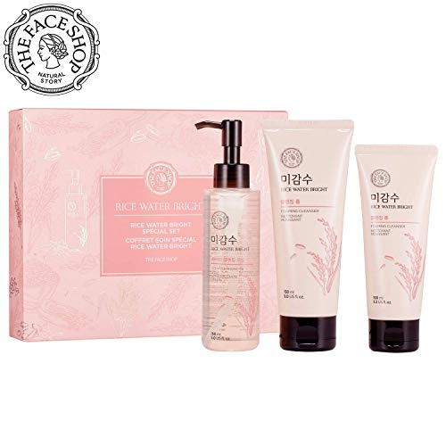 ([THEFACESHOP] Rice Water Face Wash Set - Bright Foaming Facial Cleanser 150ml + Light Cleansing Oil 150ml with an Extra Cleansing Foam 100ml)