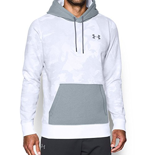 Under Armour Men's Rival Fleece Printed Hoodie, White/Steel, Large