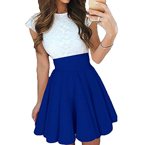 Womens Lace Stitching Party Cocktail col rond robe patineuse t lgant robes  manches courtes Royal Blue