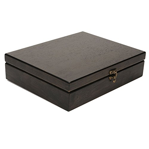 WE Games Old World Wooden Treasure Box with Brass Latch (Black Stained)