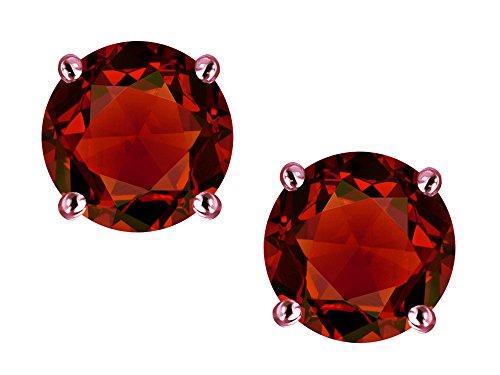 Star K Classic Round 7mm Genuine Garnet Four Prong Stud Earrings 10 kt Rose Gold