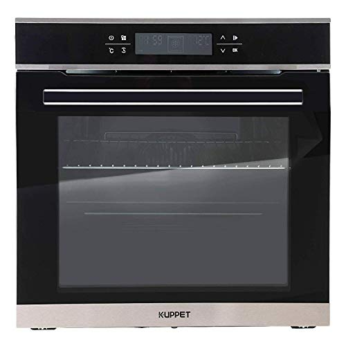 KUPPET 24″ Electric Single Wall Oven with 10 Functions, Tempered Glass, Digital Display, Touch Controls, Built-In or Under-Counter, Faster Cooking Convection E750100-H1