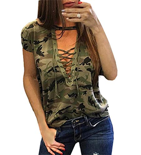 Smile fish Women Camouflage Print V-Neck Lace-up T-Shirt (Green 3, US 10/Tag Size L)