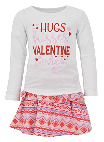 Unique Baby Girls Hugs Kisses Valentine's Day Skirt Set Outfit (8)