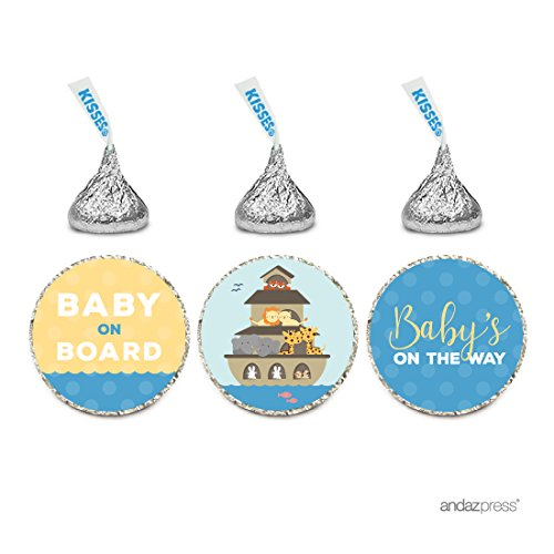 Andaz Press Chocolate Drop Labels Trio, Baby Shower, Noah's Ark, 216-Pack, Fits Hershey's Kisses Party Favors, Decor, -