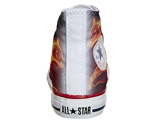 Converse All Star Hi Personnalisé et Imprimés chaussures coutume, Sneaker Unisex (produit Italien artisanal) cheval fougueux